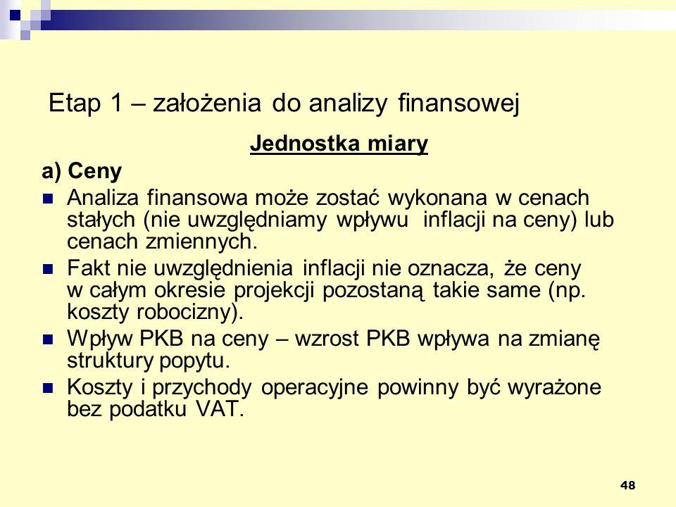 48 Etap 1 – założenia do analizy finansowej Jednostka miary a) Ceny Analiza finansowa może zostać wykonana w cenach stałych (nie uwzględniamy wpływu i