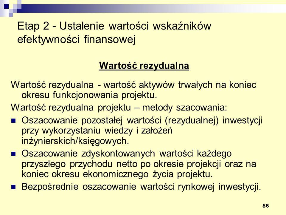 56 Etap 2 - Ustalenie wartości wskaźników efektywności finansowej Wartość rezydualna Wartość rezydualna - wartość aktywów trwałych na koniec okresu funkcjonowania projektu.