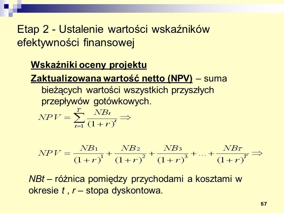 57 Etap 2 - Ustalenie wartości wskaźników efektywności finansowej Wskaźniki oceny projektu Zaktualizowana wartość netto (NPV) – suma bieżących wartości wszystkich przyszłych przepływów gotówkowych.