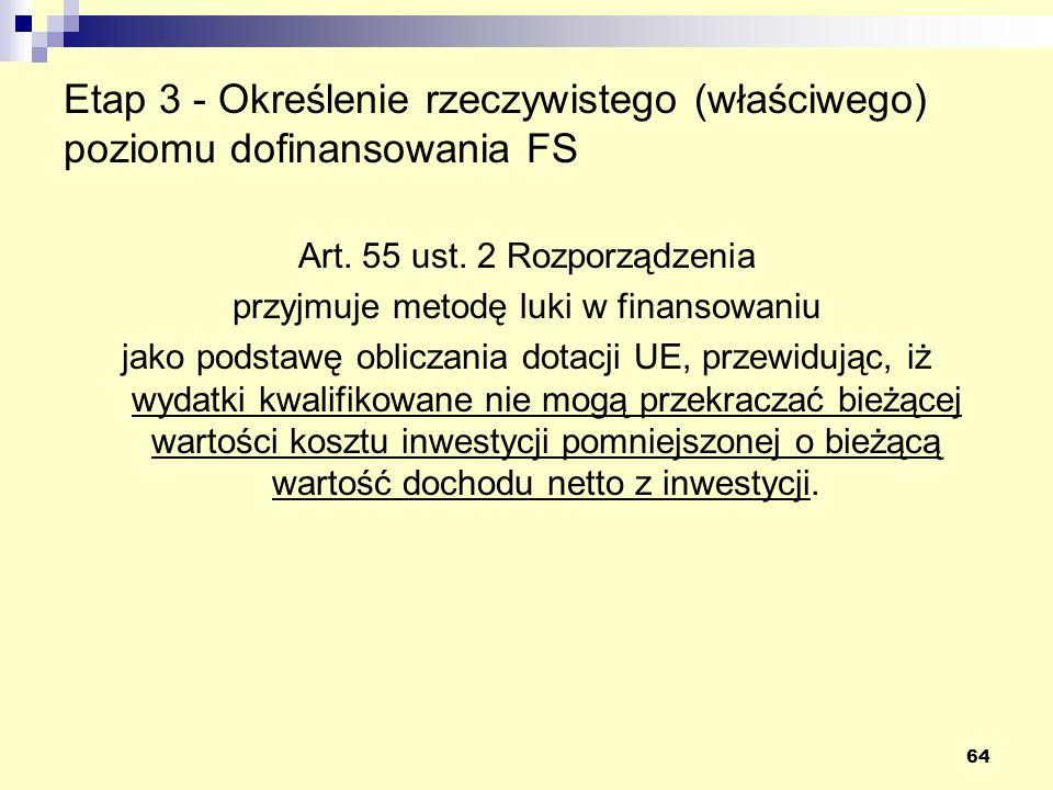 64 Etap 3 - Określenie rzeczywistego (właściwego) poziomu dofinansowania FS Art. 55 ust. 2 Rozporządzenia przyjmuje metodę luki w finansowaniu jako po