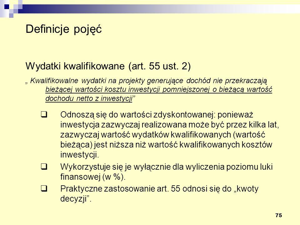 75 Wydatki kwalifikowane (art.55 ust.