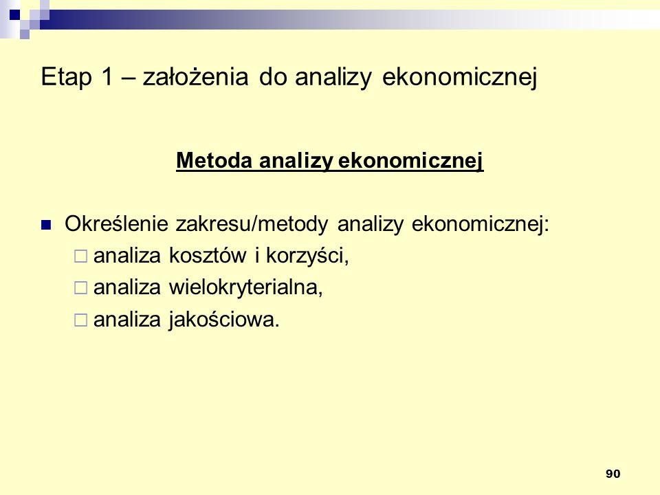 90 Etap 1 – założenia do analizy ekonomicznej Metoda analizy ekonomicznej Określenie zakresu/metody analizy ekonomicznej: analiza kosztów i korzyści,