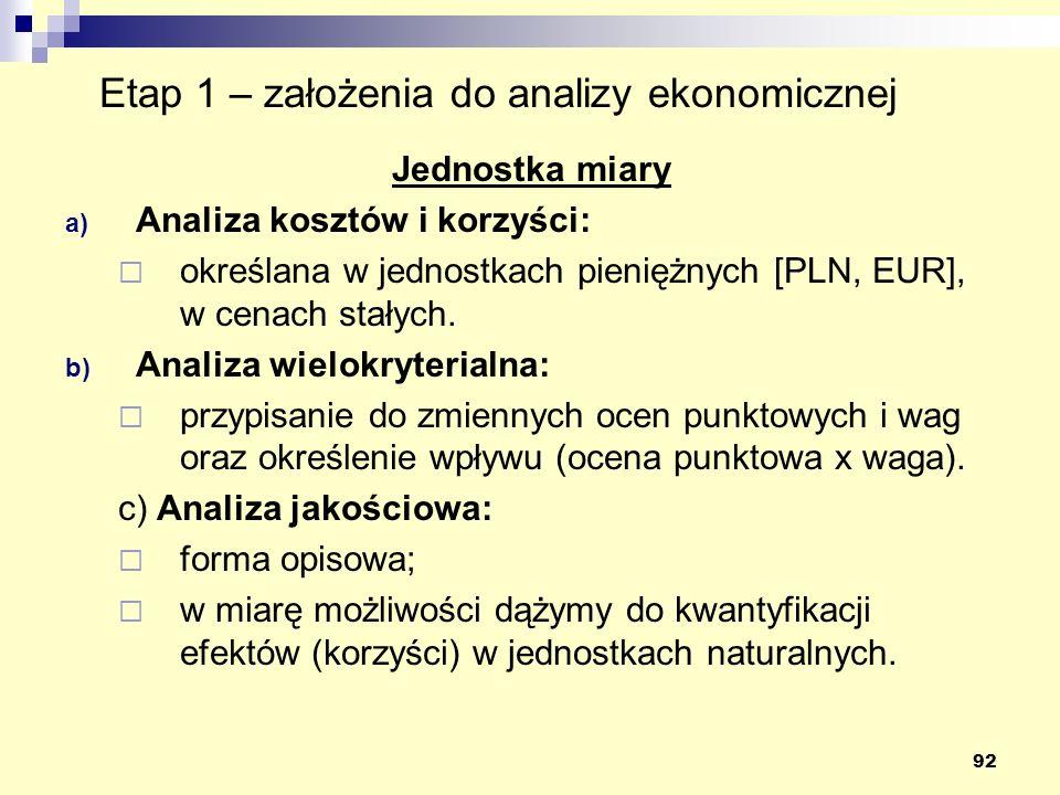 92 Etap 1 – założenia do analizy ekonomicznej Jednostka miary a) Analiza kosztów i korzyści: określana w jednostkach pieniężnych [PLN, EUR], w cenach stałych.