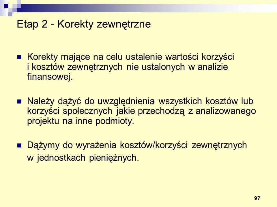 97 Etap 2 - Korekty zewnętrzne Korekty mające na celu ustalenie wartości korzyści i kosztów zewnętrznych nie ustalonych w analizie finansowej. Należy