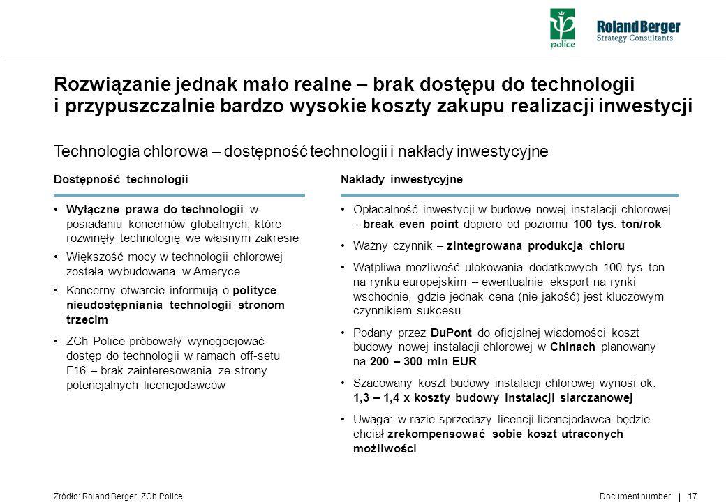 Document number 17 Rozwiązanie jednak mało realne – brak dostępu do technologii i przypuszczalnie bardzo wysokie koszty zakupu realizacji inwestycji T