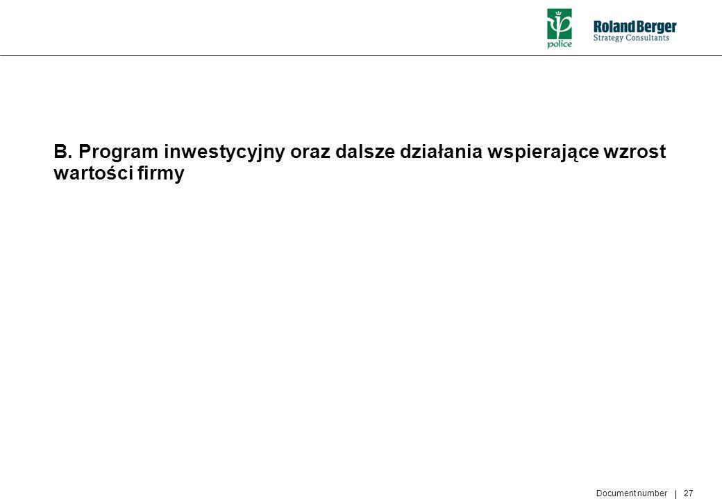 Document number 27 B. Program inwestycyjny oraz dalsze działania wspierające wzrost wartości firmy