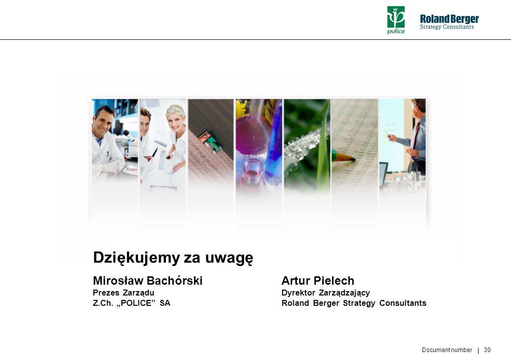 Document number 30 Dziękujemy za uwagę Mirosław BachórskiArtur Pielech Prezes Zarządu Dyrektor Zarządzający Z.Ch. POLICE SA Roland Berger Strategy Con
