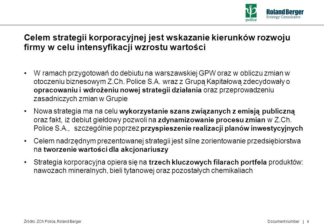 Document number 4 Celem strategii korporacyjnej jest wskazanie kierunków rozwoju firmy w celu intensyfikacji wzrostu wartości W ramach przygotowań do