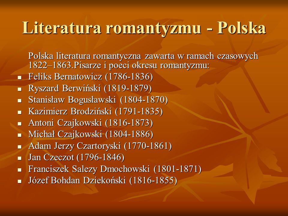Literatura romantyzmu - Polska Polska literatura romantyczna zawarta w ramach czasowych 1822–1863.Pisarze i poeci okresu romantyzmu: Feliks Bernatowic