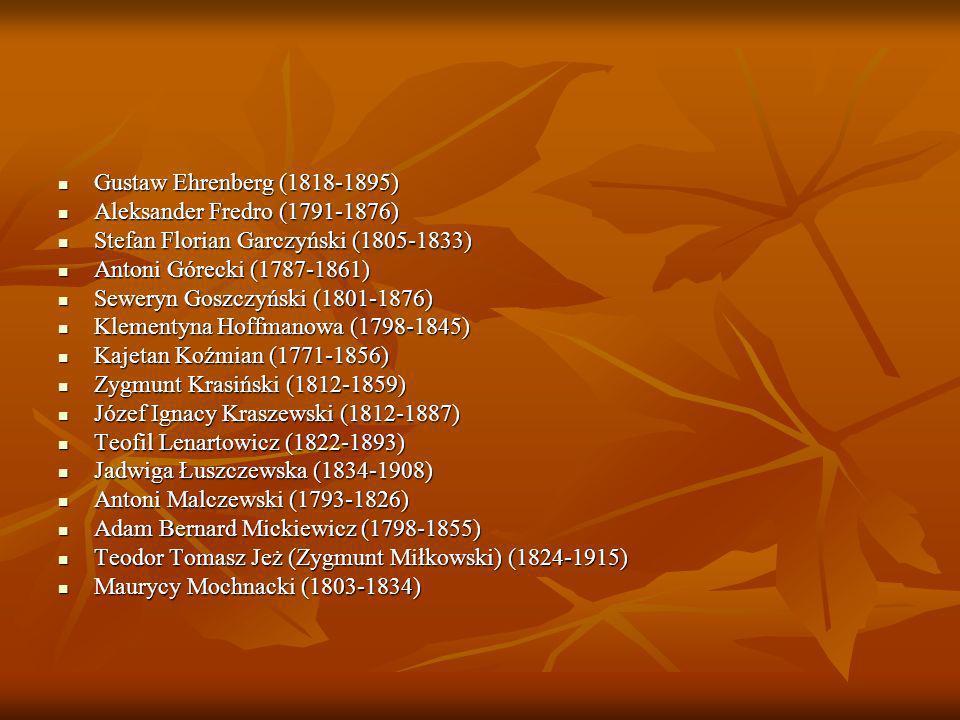 Cyprian Kamil Norwid (1821-1883) Cyprian Kamil Norwid (1821-1883) Wincenty Pol (1807-1882) Wincenty Pol (1807-1882) Mieczysław Romanowski (1834-1863) Mieczysław Romanowski (1834-1863) Henryk Rzewuski (1791-1866) Henryk Rzewuski (1791-1866) Lucjan Siemieński (1807-1877) Lucjan Siemieński (1807-1877) Juliusz Słowacki (1809-1849) Juliusz Słowacki (1809-1849) Władysław Syrokomla (1823-1862) Władysław Syrokomla (1823-1862) Kornel Ujejski (1823-1897) Kornel Ujejski (1823-1897) Maria Wirtemberska (1768-1854) Maria Wirtemberska (1768-1854) Józef Bohdan Zaleski (1802-1886) Józef Bohdan Zaleski (1802-1886) Narcyza Żmichowska (1819-1876) Narcyza Żmichowska (1819-1876) Inne ważne postacie epoki: Inne ważne postacie epoki: Aleksander Dunin-Borkowski (1811 – 1896) Aleksander Dunin-Borkowski (1811 – 1896) Józef Dunin-Borkowski (1809-1843) Józef Dunin-Borkowski (1809-1843) Edward Dembowski (1822-1846) Edward Dembowski (1822-1846) Stanisław Kostka Potocki (1755-1821) Stanisław Kostka Potocki (1755-1821) Andrzej Towiański (1799-1878) Andrzej Towiański (1799-1878) Kazimierz Władysław Wójcicki (1807-1879) Kazimierz Władysław Wójcicki (1807-1879) Fryderyk Chopin (1810-1849) Fryderyk Chopin (1810-1849) Piotr Michałowski (1800-1855) malarz Piotr Michałowski (1800-1855) malarz