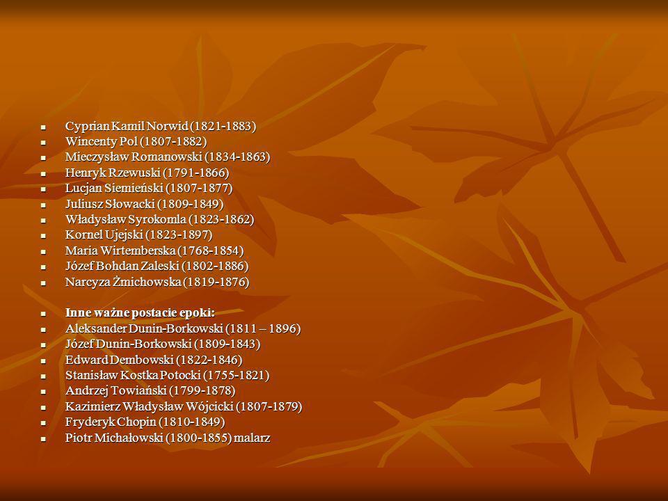 Popularne gatunki literackie: ballada ballada dramat dramat pamiętnik pamiętnik poemat poemat powieść poetycka powieść poetycka powieść historyczna powieść historyczna psalm psalm sonet sonet wiersz wiersz Popularne motywy: ludowość ludowość historia historia Orientalizm Orientalizm