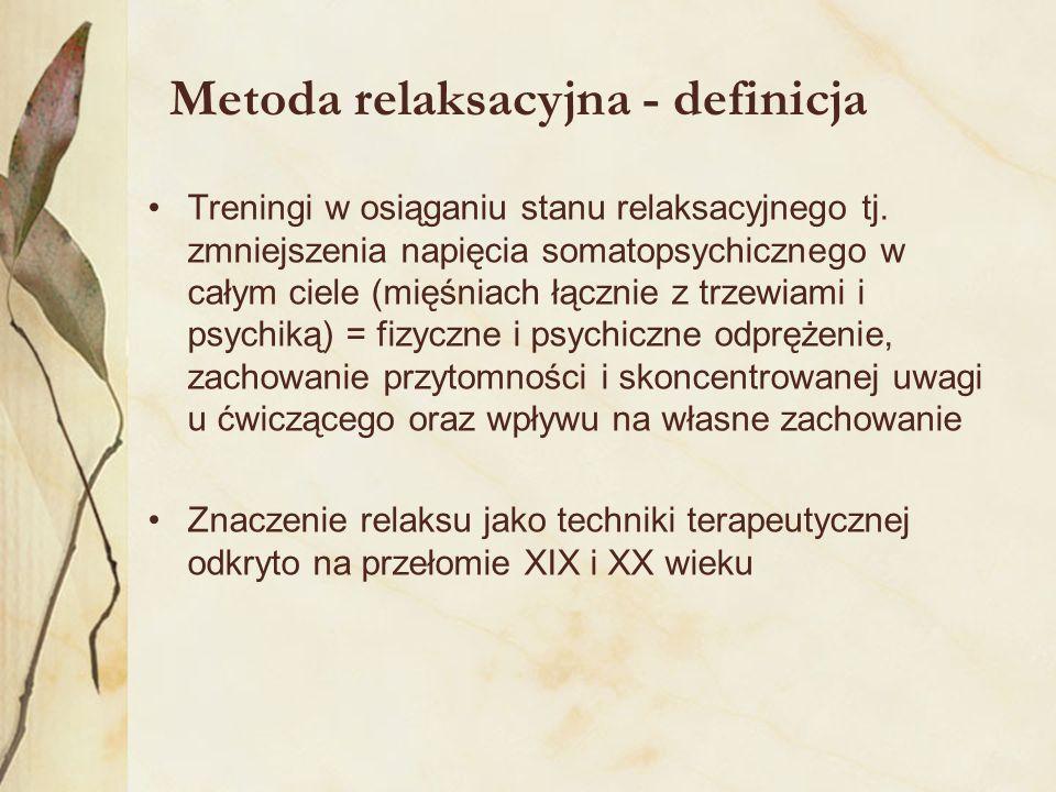 Metoda relaksacyjna - definicja Treningi w osiąganiu stanu relaksacyjnego tj. zmniejszenia napięcia somatopsychicznego w całym ciele (mięśniach łączni