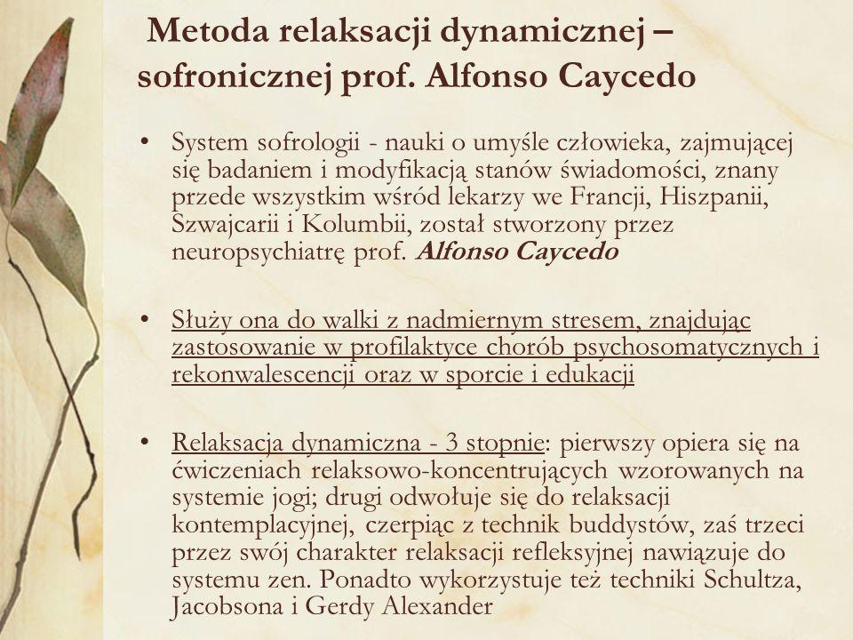 Metoda relaksacji dynamicznej – sofronicznej prof. Alfonso Caycedo System sofrologii - nauki o umyśle człowieka, zajmującej się badaniem i modyfikacją