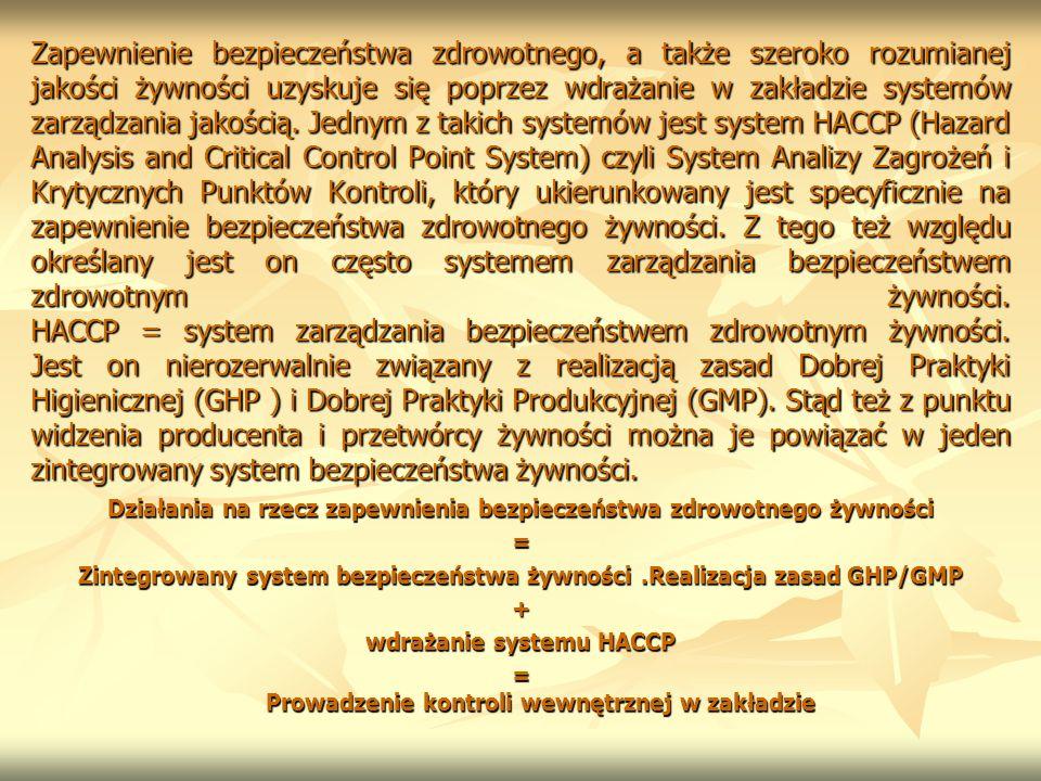 Zapewnienie bezpieczeństwa zdrowotnego, a także szeroko rozumianej jakości żywności uzyskuje się poprzez wdrażanie w zakładzie systemów zarządzania ja
