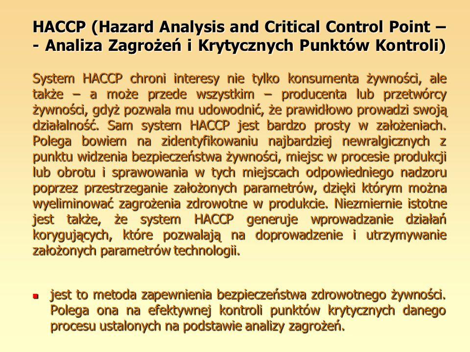 HACCP (Hazard Analysis and Critical Control Point – - Analiza Zagrożeń i Krytycznych Punktów Kontroli) System HACCP chroni interesy nie tylko konsumen