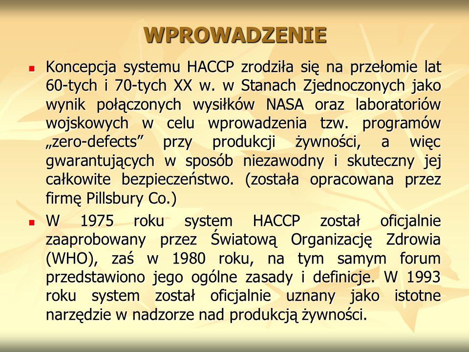 WPROWADZENIE Koncepcja systemu HACCP zrodziła się na przełomie lat 60-tych i 70-tych XX w. w Stanach Zjednoczonych jako wynik połączonych wysiłków NAS