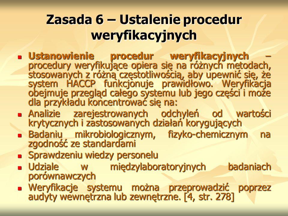 Zasada 6 – Ustalenie procedur weryfikacyjnych Ustanowienie procedur weryfikacyjnych – procedury weryfikujące opiera się na różnych metodach, stosowany