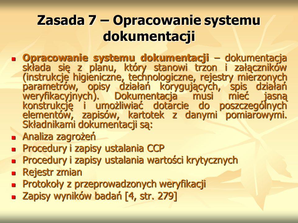 Zasada 7 – Opracowanie systemu dokumentacji Opracowanie systemu dokumentacji – dokumentacja składa się z planu, który stanowi trzon i załączników (ins