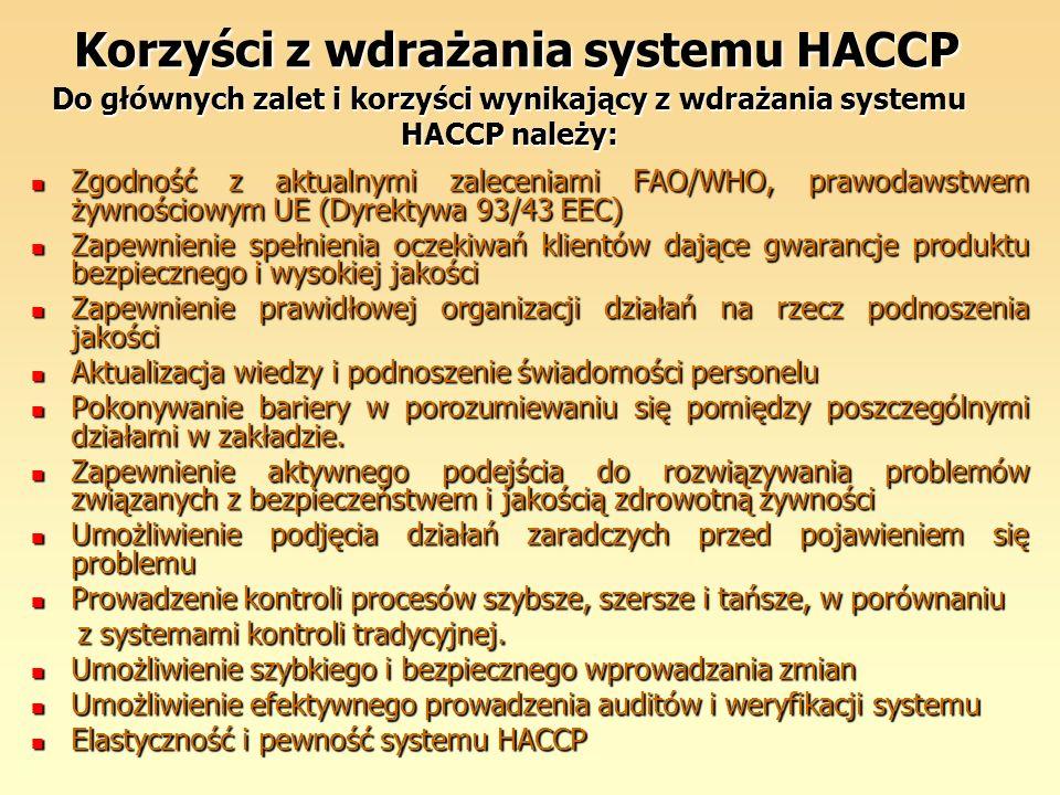 Korzyści z wdrażania systemu HACCP Do głównych zalet i korzyści wynikający z wdrażania systemu HACCP należy: Korzyści z wdrażania systemu HACCP Do głó