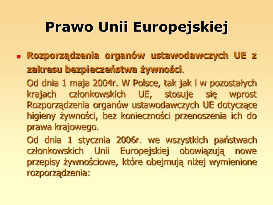 Prawo Unii Europejskiej Rozporządzenia organów ustawodawczych UE z zakresu bezpieczeństwa żywności. Rozporządzenia organów ustawodawczych UE z zakresu
