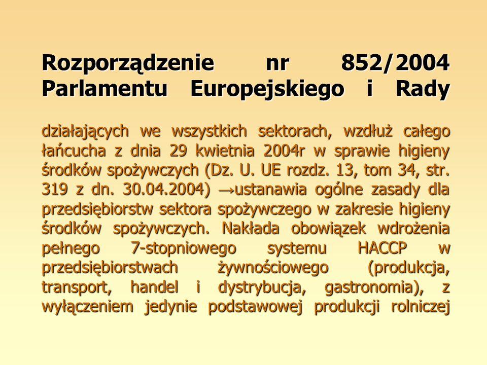 Rozporządzenie nr 852/2004 Parlamentu Europejskiego i Rady działających we wszystkich sektorach, wzdłuż całego łańcucha z dnia 29 kwietnia 2004r w spr