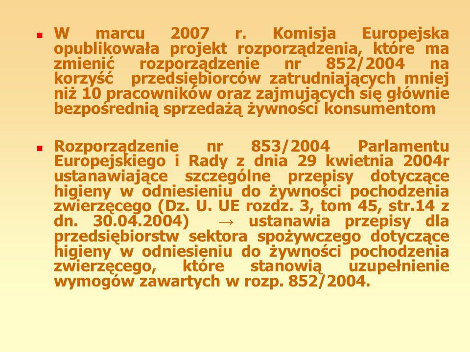W marcu 2007 r. Komisja Europejska opublikowała projekt rozporządzenia, które ma zmienić rozporządzenie nr 852/2004 na korzyść przedsiębiorców zatrudn