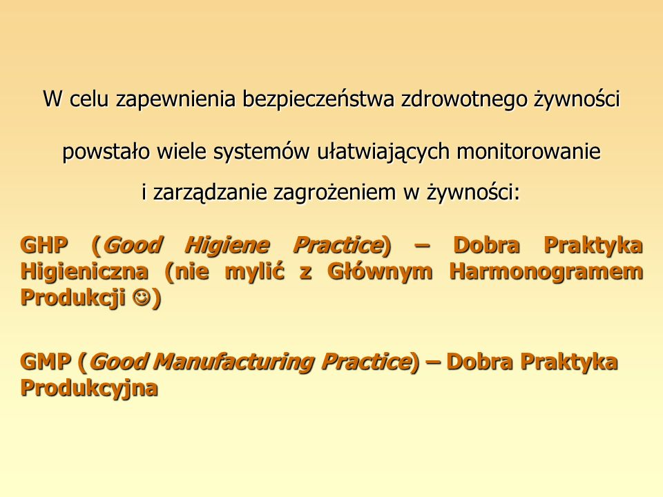 System HACCP opiera się na 7 podstawowych zasadach (etapach): Zasada 1:Analiza zagrożeń Zasada 1:Analiza zagrożeń Zasada 2:Wyznaczenie krytycznych punktów kontroli (CCP) Zasada 2:Wyznaczenie krytycznych punktów kontroli (CCP) Zasada 3:Ustalenie dla każdego CCP wartości krytycznych Zasada 3:Ustalenie dla każdego CCP wartości krytycznych Zasada 4:Opracowanie systemu monitorowania wartości na Zasada 4:Opracowanie systemu monitorowania wartości na każdym CCP Zasada 5:Ustalenie działań korygujących, które należy wykonać Zasada 5:Ustalenie działań korygujących, które należy wykonać gdy wartości krytyczne zostaną przekroczone Zasada 6:Ustalenie procedur weryfikujących funkcjonowanie Zasada 6:Ustalenie procedur weryfikujących funkcjonowanie systemu przez zespół HACCP Zasada 7:Opracowanie dokumentacji i systemu rejestracji Zasada 7:Opracowanie dokumentacji i systemu rejestracji danych wynikających z zasad systemu HACCP i ich zastosowań.