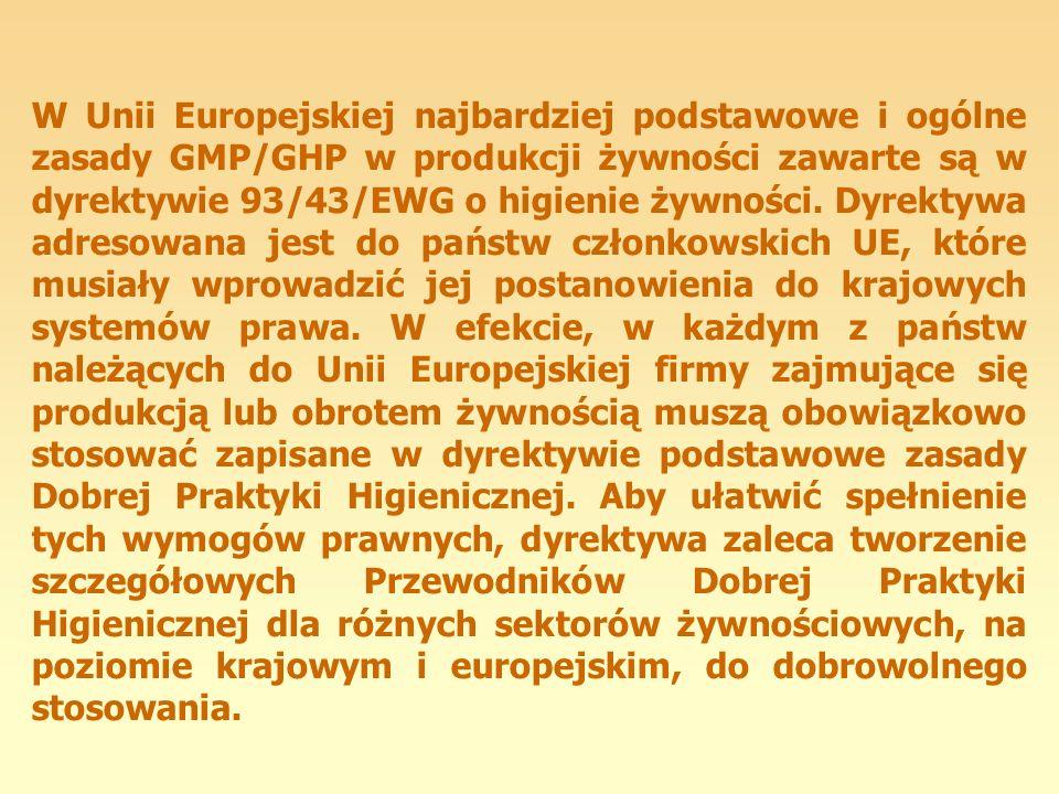 W Unii Europejskiej najbardziej podstawowe i ogólne zasady GMP/GHP w produkcji żywności zawarte są w dyrektywie 93/43/EWG o higienie żywności. Dyrekty