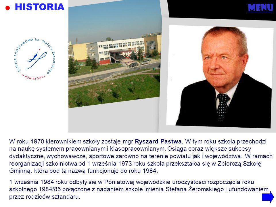 menu W roku 1970 kierownikiem szkoły zostaje mgr Ryszard Pastwa. W tym roku szkoła przechodzi na naukę systemem pracownianym i klasopracownianym. Osią