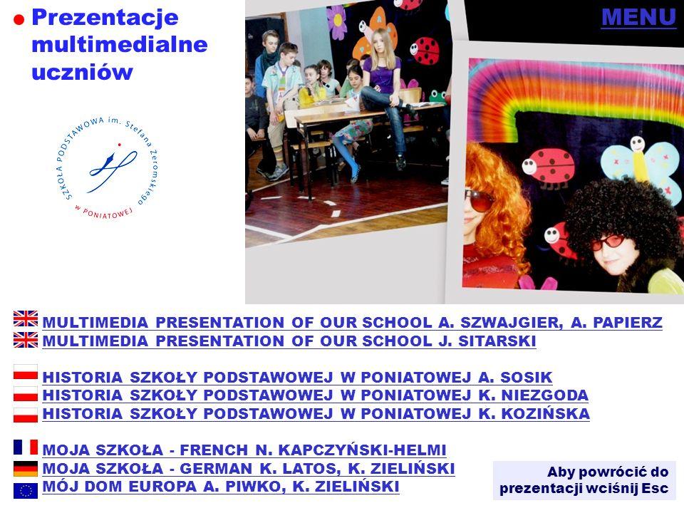 Prezentacje multimedialne uczniów MENU Aby powrócić do prezentacji wciśnij Esc MULTIMEDIA PRESENTATION OF OUR SCHOOL A. SZWAJGIER, A. PAPIERZ MULTIMED