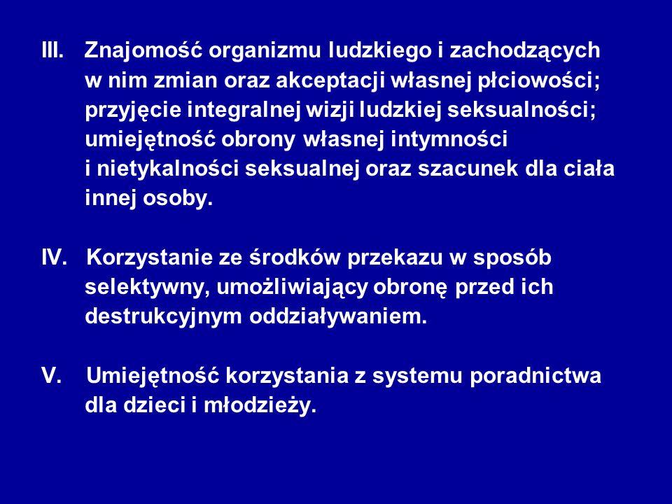 III. Znajomość organizmu ludzkiego i zachodzących w nim zmian oraz akceptacji własnej płciowości; przyjęcie integralnej wizji ludzkiej seksualności; u