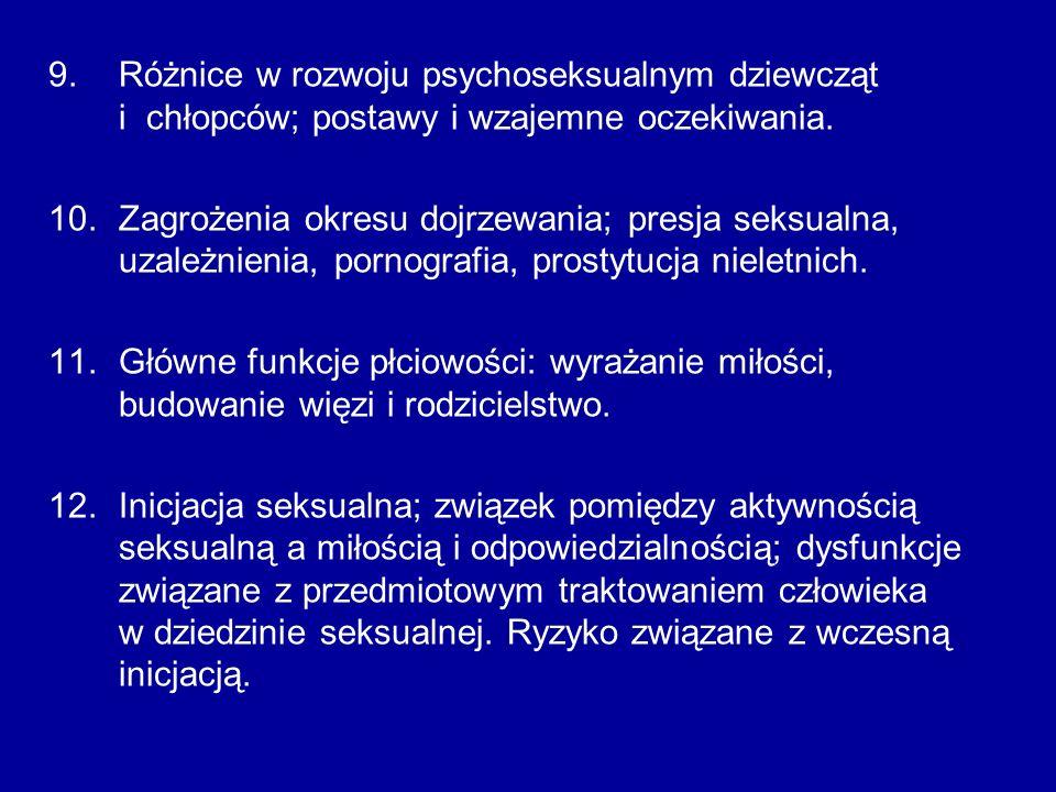 9.Różnice w rozwoju psychoseksualnym dziewcząt i chłopców; postawy i wzajemne oczekiwania. 10.Zagrożenia okresu dojrzewania; presja seksualna, uzależn