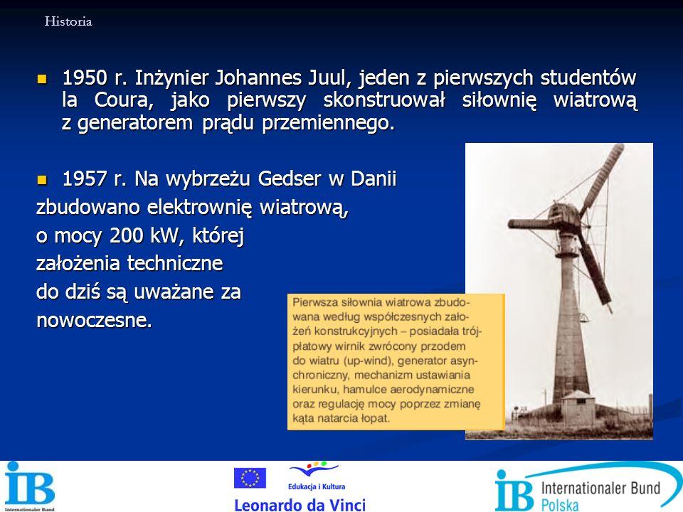 1950 r. Inżynier Johannes Juul, jeden z pierwszych studentów la Coura, jako pierwszy skonstruował siłownię wiatrową z generatorem prądu przemiennego.