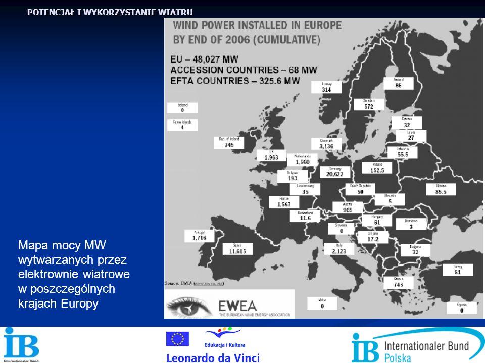 POTENCJAŁ I WYKORZYSTANIE WIATRU Mapa mocy MW wytwarzanych przez elektrownie wiatrowe w poszczególnych krajach Europy