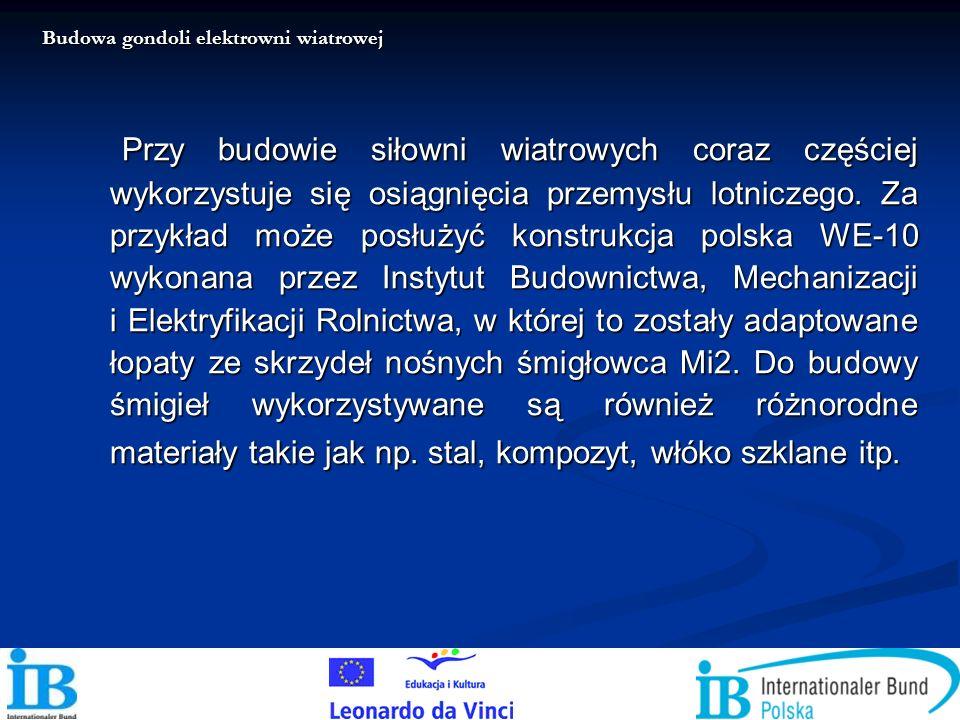 Przy budowie siłowni wiatrowych coraz częściej wykorzystuje się osiągnięcia przemysłu lotniczego. Za przykład może posłużyć konstrukcja polska WE-10 w