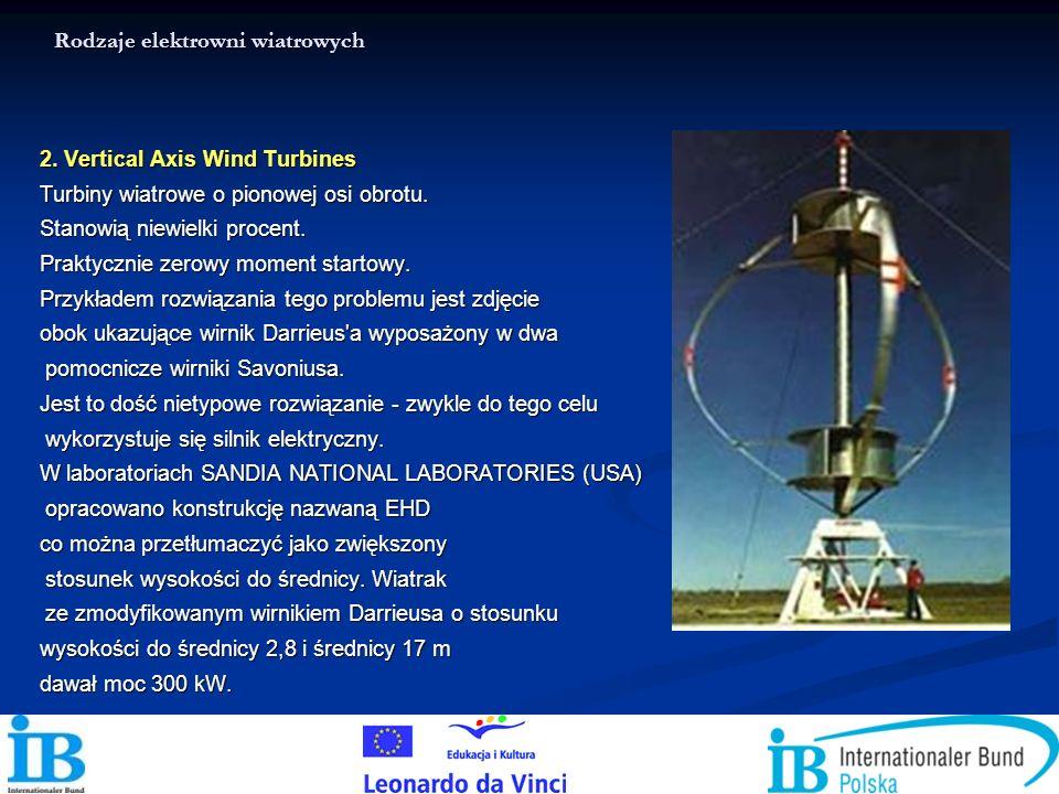 Rodzaje elektrowni wiatrowych 2. Vertical Axis Wind Turbines Turbiny wiatrowe o pionowej osi obrotu. Stanowią niewielki procent. Praktycznie zerowy mo