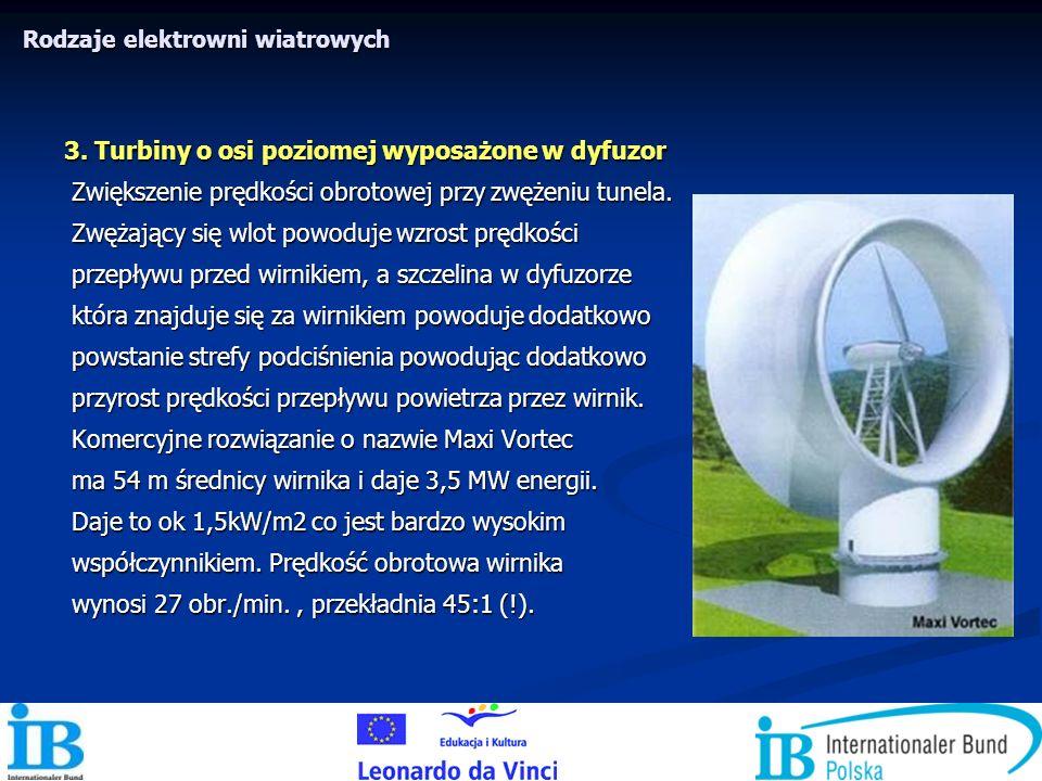 3. Turbiny o osi poziomej wyposażone w dyfuzor Zwiększenie prędkości obrotowej przy zwężeniu tunela. Zwiększenie prędkości obrotowej przy zwężeniu tun