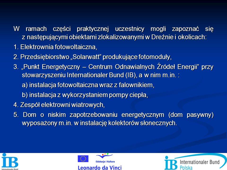W ramach części praktycznej uczestnicy mogli zapoznać się z następującymi obiektami zlokalizowanymi w Dreźnie i okolicach: 1. Elektrownia fotowoltaicz