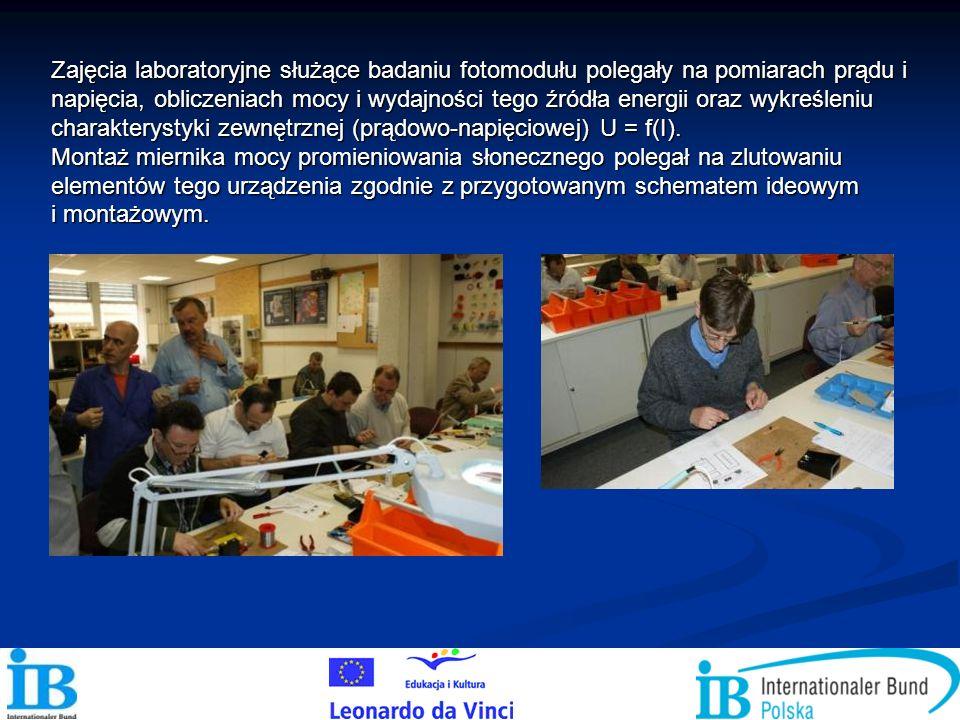 Zajęcia laboratoryjne służące badaniu fotomodułu polegały na pomiarach prądu i napięcia, obliczeniach mocy i wydajności tego źródła energii oraz wykre