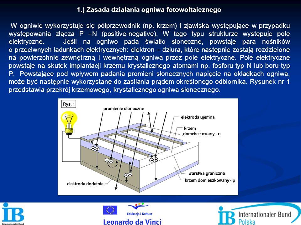1.) Zasada działania ogniwa fotowoltaicznego W ogniwie wykorzystuje się półprzewodnik (np. krzem) i zjawiska występujące w przypadku występowania złąc
