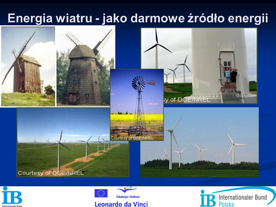 POTENCJAŁ I WYKORZYSTANIE WIATRU Elektrownie wiatrowe wykorzystywane są przede wszystkim do produkcji energii elektrycznej.