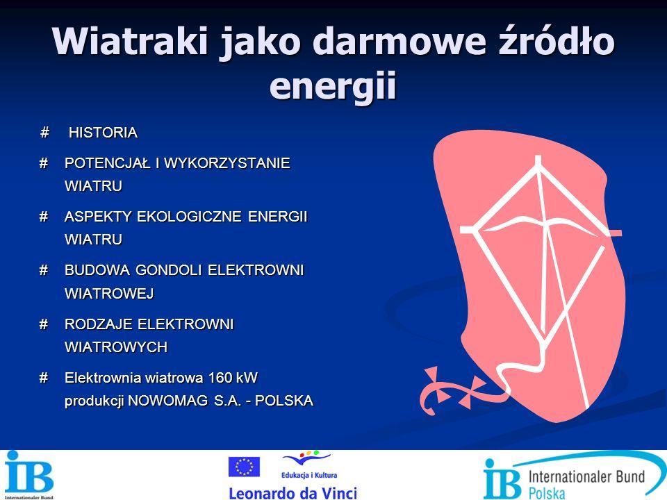 Wiatraki jako darmowe źródło energii # HISTORIA # POTENCJAŁ I WYKORZYSTANIE WIATRU # ASPEKTY EKOLOGICZNE ENERGII WIATRU # BUDOWA GONDOLI ELEKTROWNI WI