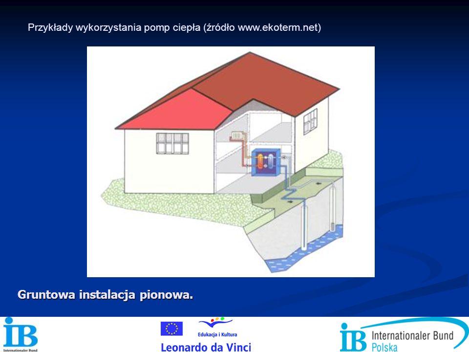 Gruntowa instalacja pionowa. Przykłady wykorzystania pomp ciepła (źródło www.ekoterm.net)