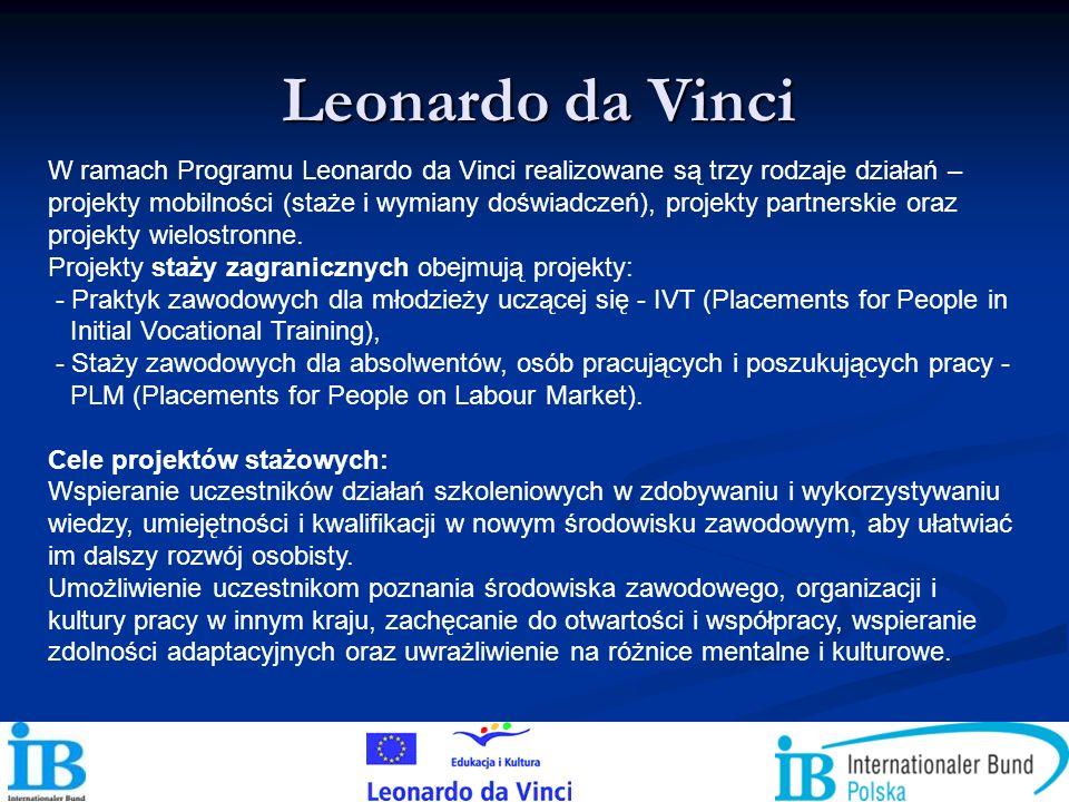 W ramach Programu Leonardo da Vinci realizowane są trzy rodzaje działań – projekty mobilności (staże i wymiany doświadczeń), projekty partnerskie oraz