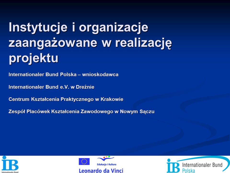 Instytucje i organizacje zaangażowane w realizację projektu Internationaler Bund Polska – wnioskodawca Internationaler Bund e.V. w Dreźnie Centrum Ksz