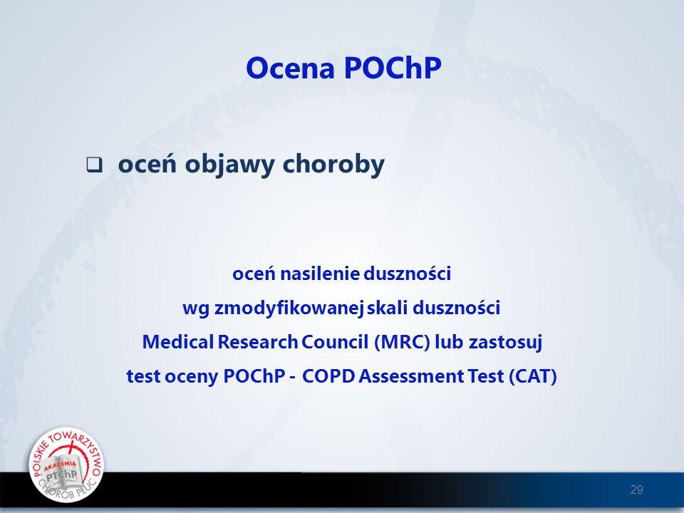 oceń objawy choroby Ocena POChP oceń nasilenie duszności wg zmodyfikowanej skali duszności Medical Research Council (MRC) lub zastosuj test oceny POCh