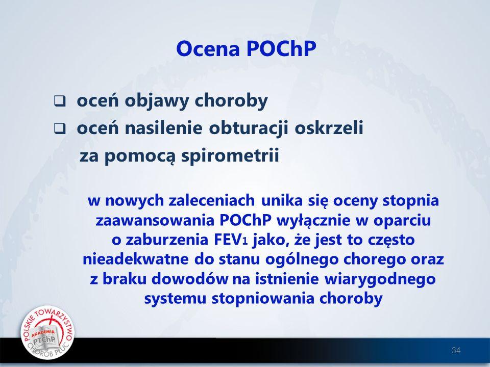 Ocena POChP oceń objawy choroby oceń nasilenie obturacji oskrzeli za pomocą spirometrii w nowych zaleceniach unika się oceny stopnia zaawansowania POC