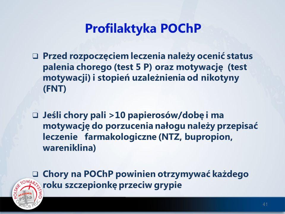Profilaktyka POChP Przed rozpoczęciem leczenia należy ocenić status palenia chorego (test 5 P) oraz motywację (test motywacji) i stopień uzależnienia