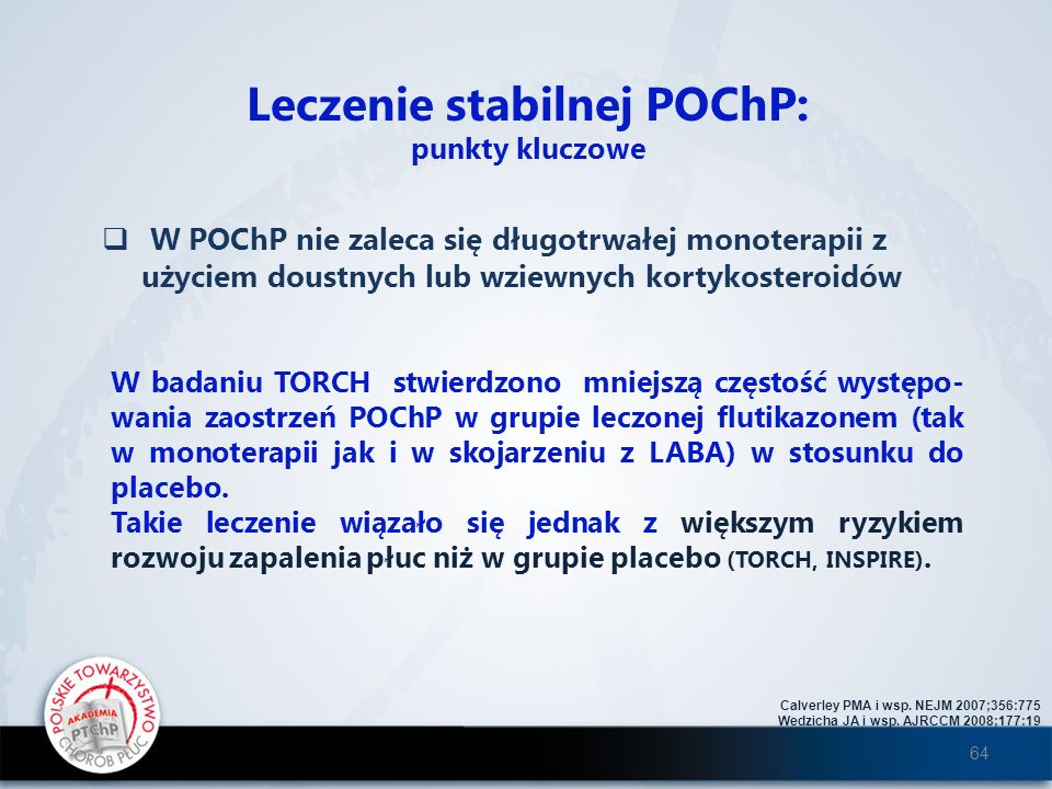 Leczenie stabilnej POChP: punkty kluczowe W POChP nie zaleca się długotrwałej monoterapii z użyciem doustnych lub wziewnych kortykosteroidów Calverley