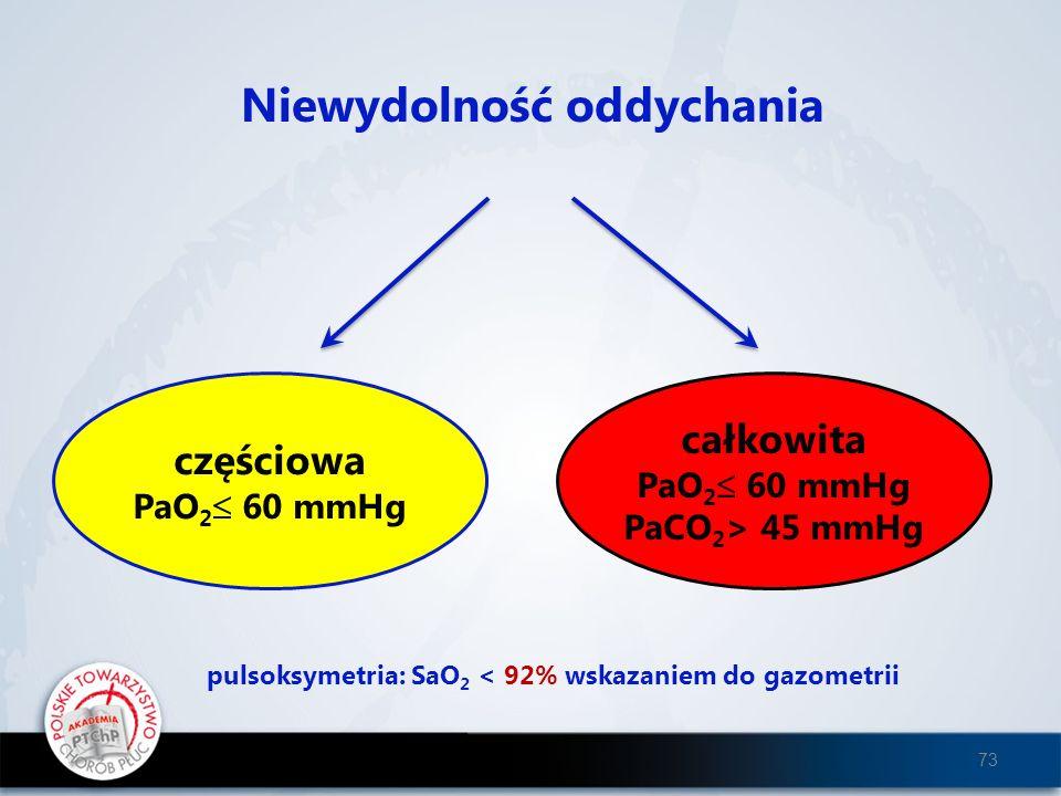 Niewydolność oddychania częściowa PaO 2 60 mmHg całkowita PaO 2 60 mmHg PaCO 2 > 45 mmHg pulsoksymetria: SaO 2 < 92% wskazaniem do gazometrii 73